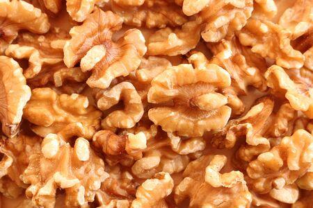 Close up of shelled walnut halves Stockfoto