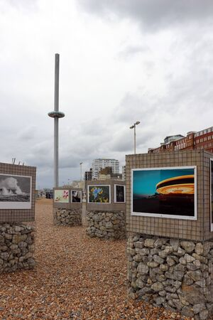 Brighton, East Sussex, England. 9th September 2019. Photographs displayed on the beach at Brighton Фото со стока - 135344388