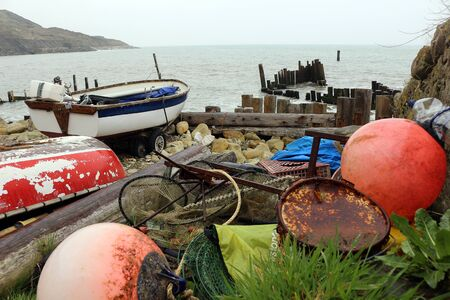 Various fishing paraphernalia  at the beach
