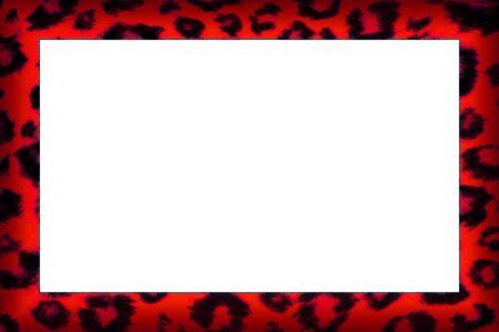Colourful red leopard print border frame
