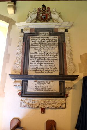 Hinton Ampner, Winchester, Hampshire, England. 21st May 2019. A memorial plaque in All Saints Church in Hinton Ampner. Редакционное