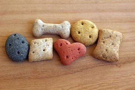 different dog biscuits close up