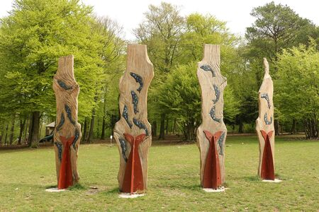 Horndean, Hampshire, England. 23rd April 2019. Wooden and Metal Sculpture artwork with a Wildlife theme at Queen Elizabeth Country Park