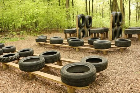 Horndean, Hampshire, England. 23rd April 2019. An Assault Course with Tyres at Queen Elizabeth Country Park