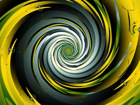 Spiralling yellow and green fractal tunnel