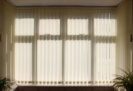 Closed vertical venetian window blinds