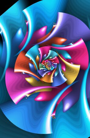 Abstract colorful fractal flower digital art Фото со стока