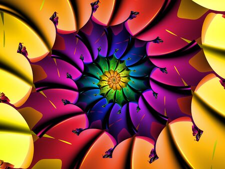 Rainbow Abstract Spiralling Flower Pattern