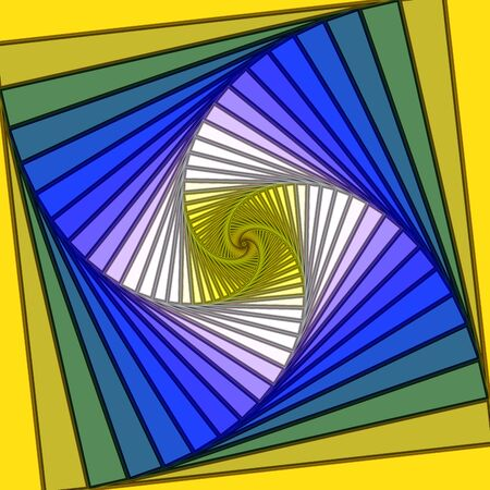 Yellow and Blue Psychedelic Lined Spiral Vortex