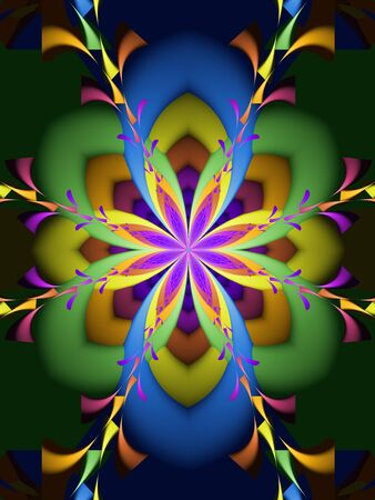 Abstract digital concentric floral kaleidoscope pattern. Colorful fractal art Фото со стока