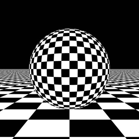 A Checkered Sphere on a Checkerboard Floor