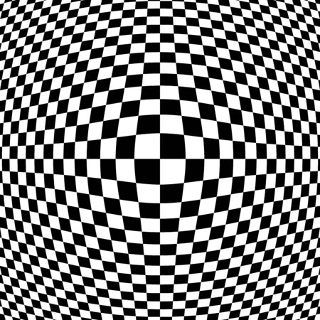 Black and White Checkered Optical Art Design with Bulging Centre