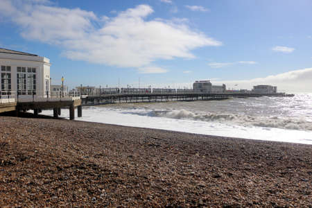Worthing, West Sussex, England. 11th March 2020. Worthing pier on a sunny day. Editorial
