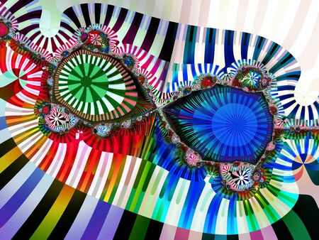 Abstract fractal design with striped circle shapes and bold colours