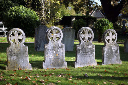 Rowlands Castle, Hampshire, England. 18th November 2019. Gravestones in the churchyard at Saint John the Baptist church, Rowlands Castle. Editorial