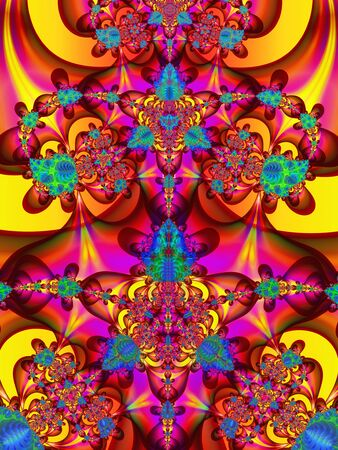 Spiky floral abstract art design with bright vivid colours Standard-Bild