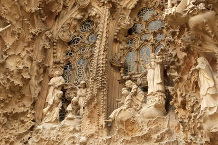 Barcelona, Catalonia, Spain. 10th May 2016. Detail from the Nativity Facade on the exterior of the Sagrada Familia Basilica, Barcelona, Spain.
