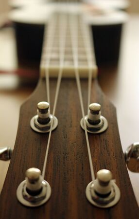 close up of the fret of a ukulele