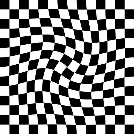 Abstract seamless black and white pattern with warped checkerboard