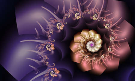 Beautiful purple and peach fractal spiral with floral accents