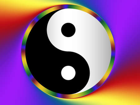 Black and White Yin Yang Taoist Symbol on a Colourful Background Standard-Bild