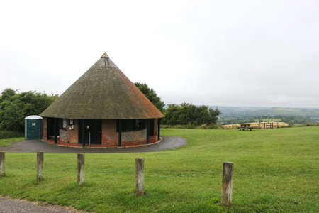 Butser Hill, Hampshire, England. 8th July 2020. The roundhouse toilet block at Butser Hill in the South Downs. Editorial
