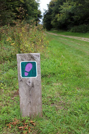 A footpath sign in a countryside park