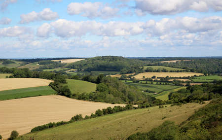 View across countryside landscape of the South Downs, England