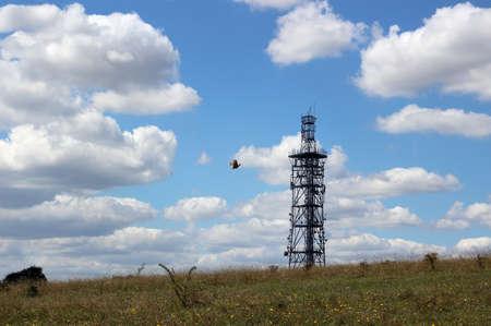 telecommunication tower on a hill