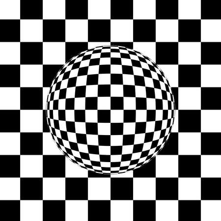 black and white sphere on a checkered background