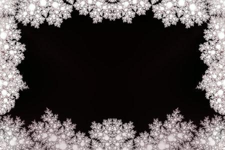 white snowflake frame around black background
