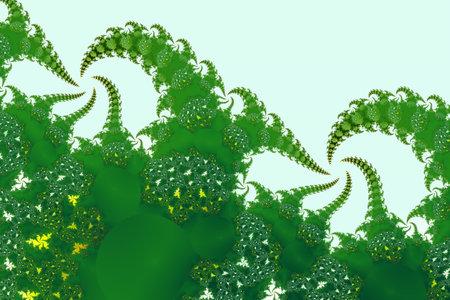 Green fractal fern shapes absract pattern Фото со стока