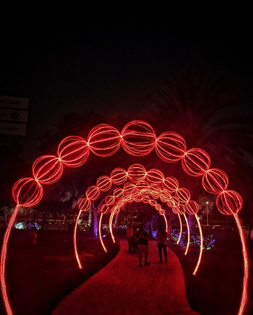 glow: Dubai Glow Park Stock Photo