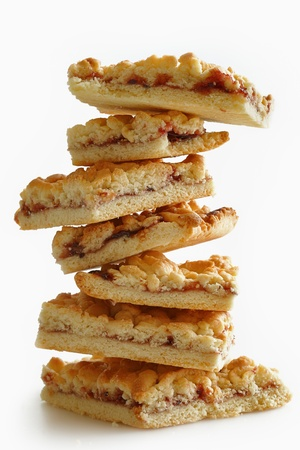 Of square pieces of pastry lined turret. White background Stock Photo - 9127126