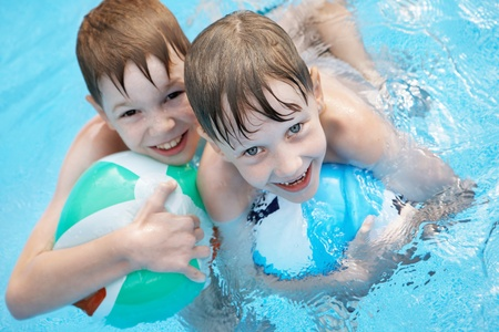Children in the pool. photo