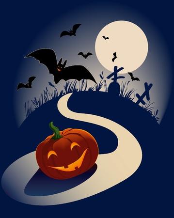 night road: Jack Pumpkinhead laughs on the night road. Illustration