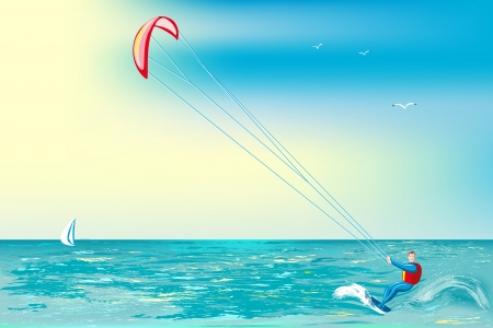 Man involved in sports on a surfboard with parachute Vektorové ilustrace