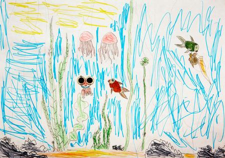 subaquatic: Child drew underwater world - the algae, frogs, fish, jellyfish.