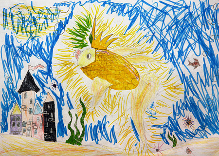 subaquatic: the child drew a fabulous underwater world and goldfish