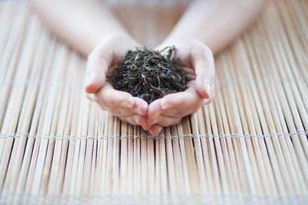 cueillette: mains tenant un th� sur un fond neutre