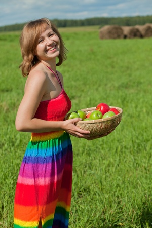 girl with apples photo