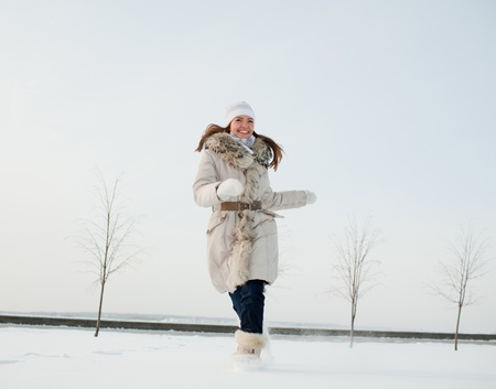 girl in nature in winter photo