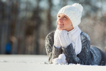 girl in the park in winter photo