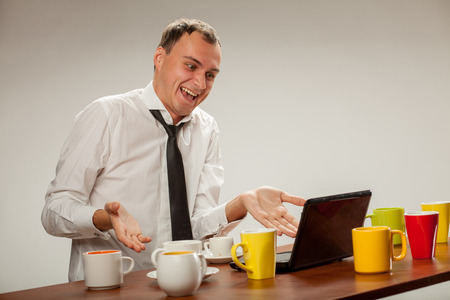 disorganization: young man at the computer Stock Photo