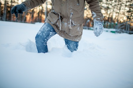 exertion: young man in winter Stock Photo