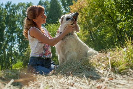 sit down: woman and dog sitting together on grass and hugging Stock Photo