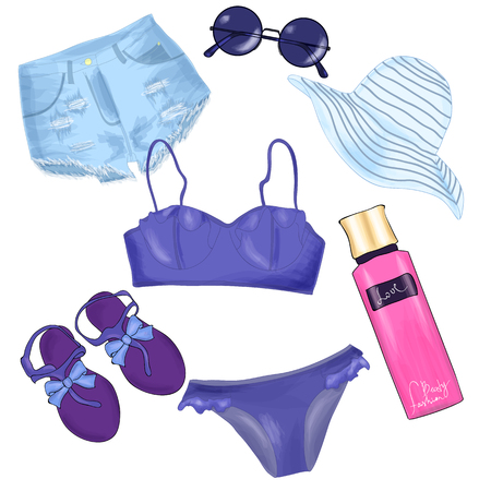 Fashionable beach outfit set Illustration