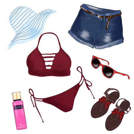 A set of summer womens clothes and accessories