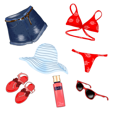 Fashionable beach outfit. A set of summer womens clothes and accessories. Sketch. Vector illustration.