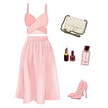 elegantly: A set of summer outfit collection with accessories and Casual outfit. Illustration
